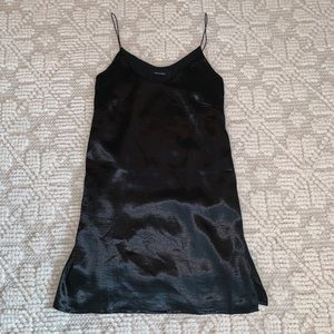 Olivaceous black satin slip dress
